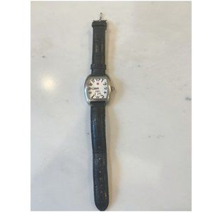 MICHELE Deco Alligator black leather strap watch